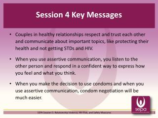 Session 4 Key Messages