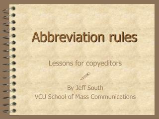 Abbreviation rules