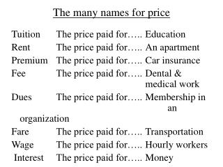 The many names for price