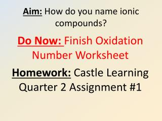 Aim: How do you name ionic compounds