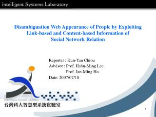Disambiguation Web Appearance of People by Exploiting Link-based and Content-based Information of Social Network Relati