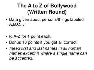 The A to Z of Bollywood (Written Round)