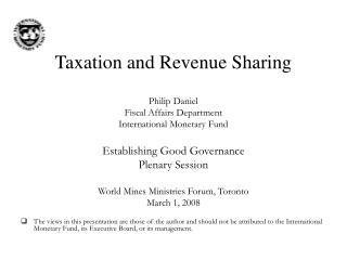 Taxation and Revenue Sharing