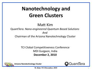 Nanotechnology and  Green Clusters