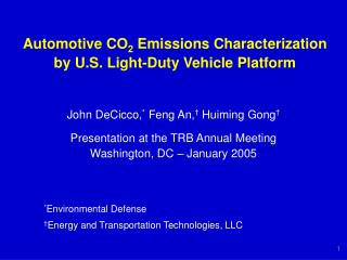 Automotive CO2 Emissions Characterization by U.S. Light-Duty Vehicle Platform