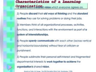 Characteristics of a Learning Organization
