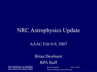 NRC Astrophysics Update