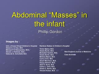 "Abdominal ""Masses"" in the infant"