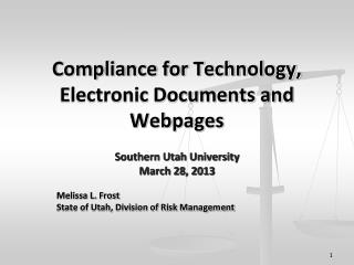 Compliance for Technology, Electronic Documents and Webpages