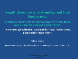 Supply chain, power relationships and local food systems