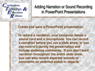 Adding Narration or Sound Recording  in PowerPoint Presentations