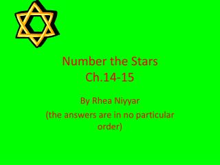Number the Stars  Ch.14-15