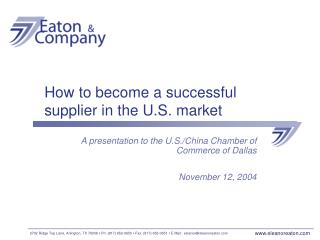 how to become a successful supplier in the u.s. market