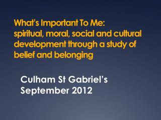 What s Important To Me:  spiritual, moral, social and cultural development through a study of belief and belonging