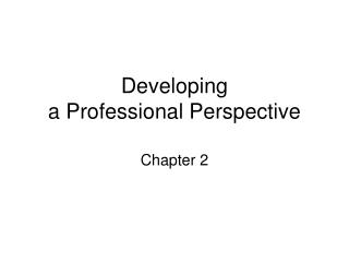 Developing a Professional Perspective