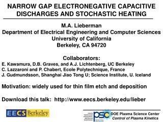 NARROW GAP ELECTRONEGATIVE CAPACITIVE DISCHARGES AND STOCHASTIC HEATING