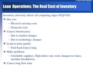 Lean  Operations: The Real Cost of Inventory