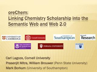 oreChem :  Linking Chemistry Scholarship into the Semantic Web and Web 2.0