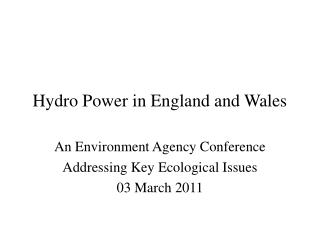 Hydro Power in England and Wales