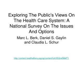 Exploring The Public's Views On The Health Care System: A National Survey On The Issues And Options