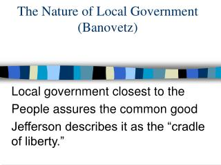 The Nature of Local Government (Banovetz)