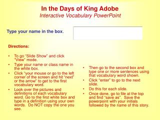 In the Days of King Adobe Interactive Vocabulary PowerPoint