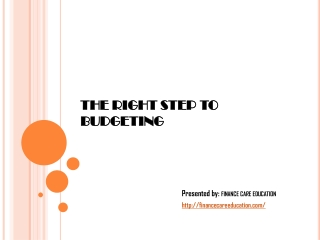 The right step to budgeting