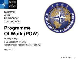 Programme Of Work (POW) Mr Tony Wedge, COE Establishment SME, Transformation Network Branch , HQ SACT March 2013