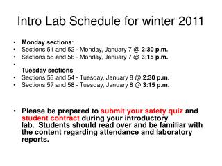 Intro Lab Schedule for winter 2011