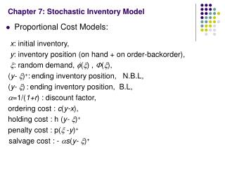 Chapter 7: Stochastic Inventory Model