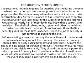 Private Security London