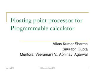 Floating point processor for Programmable calculator