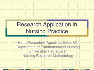 Research Application in Nursing Practice