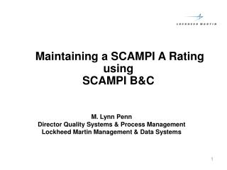 Maintaining a SCAMPI A Rating using  SCAMPI B&C