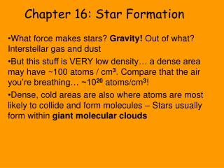 Chapter 16: Star Formation