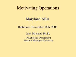 Motivating Operations