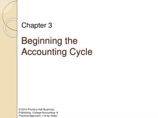 Beginning the Accounting Cycle