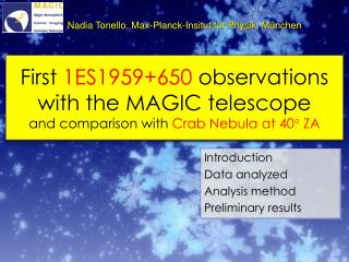 First 1ES1959650 observations  with the MAGIC telescope and comparison with Crab Nebula at 40 ZA
