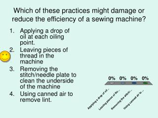 Which of these practices might damage or reduce the efficiency of a sewing machine?