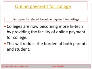 Fundamental of online payment for college