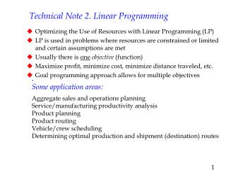 Technical Note 2. Linear Programming