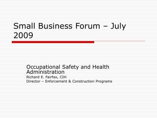 Small Business Forum – July 2009