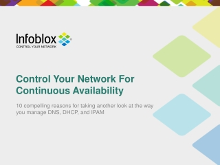 Control Your Network for Continuous Availability | Infoblox