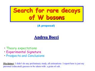 Search for rare decays of W bosons