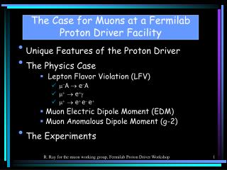 The Case for Muons at a Fermilab Proton Driver Facility