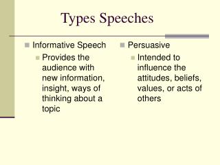 Informative Speech Provides the audience with new information, insight, ways of thinking about a topic