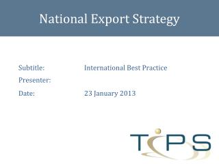 National Export Strategy