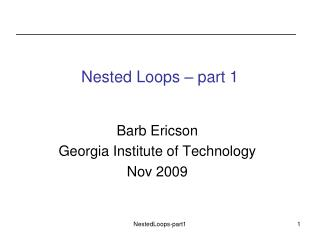 Nested Loops – part 1