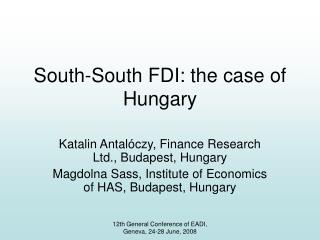 South-South FDI: the case of Hungary