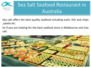Sea Salt Seafood Restaurant in Australia